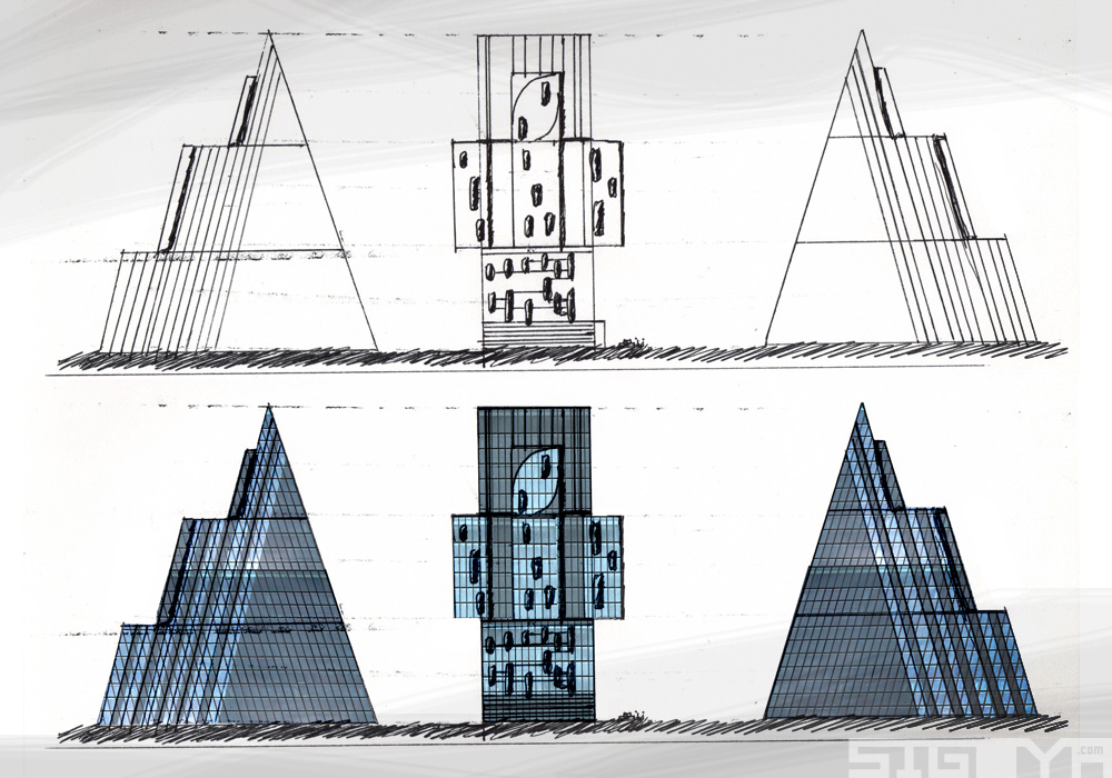 Futuristic Building Sketches Sculpture Trialith Structure Sigoya