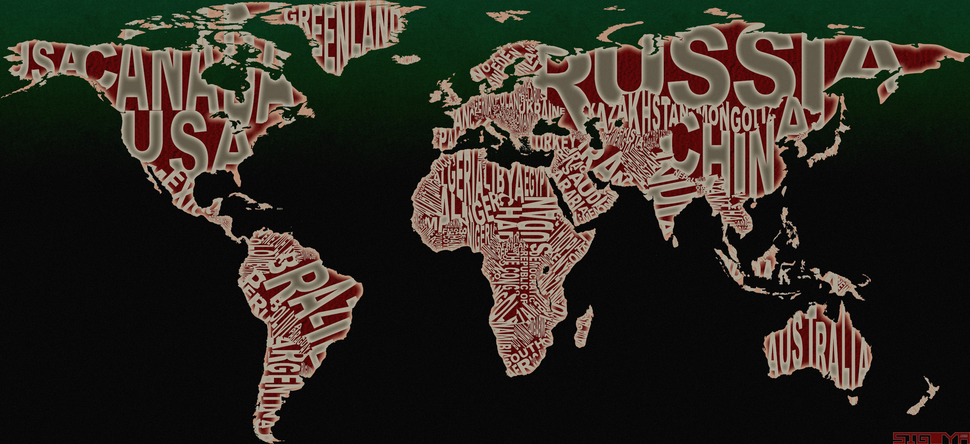 Design typographic world map sigoya with the world once the original vector file was updated i dropped it in photoshop applied a couple of filters and touch ups then voila four gumiabroncs Gallery